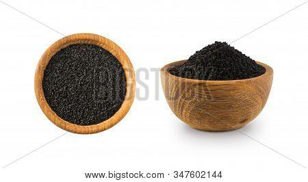 Black Cumin Isolated On White Background. Black Cumin Seed In Wooden Bowl Isolated On White Backgrou