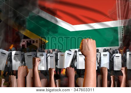 Protest In South Africa - Police Squad Stand Against The Protesting Crowd On Flag Background, Demons