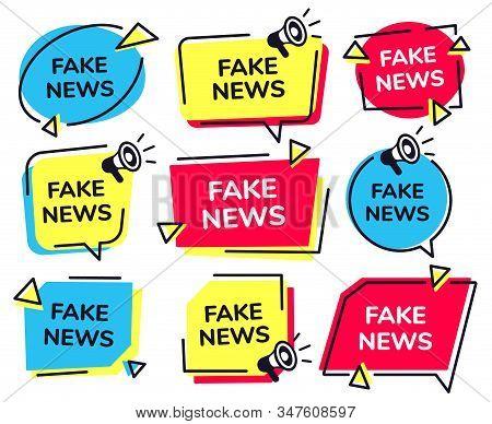 Fake News Label. News Badge With Loudspeaker Icon, Fake Media Megaphone Labels Vector Set. Social Ho