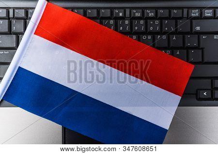 Flag Of Netherlands On Computer, Laptop Keyboard
