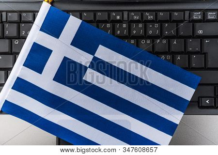 Flag Of Greece On Computer, Laptop Keyboard