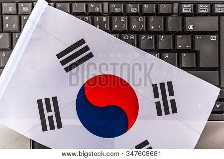 Flag Of South Korea On Computer, Laptop Keyboard