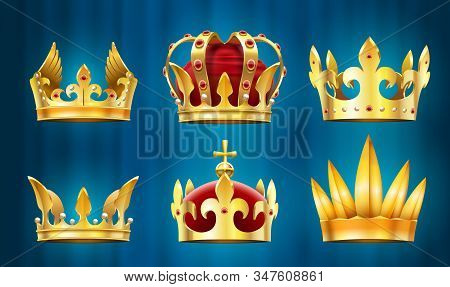 Realistic Royal Crown. King Jewels, Monarchs Crowns With Gems Stones Vector Set. Collection Of Golde