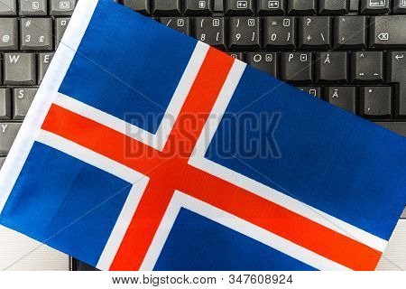Flag Of Iceland On Computer, Laptop Keyboard