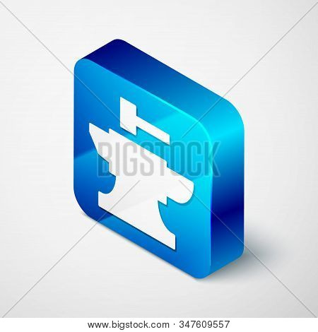 Isometric Anvil For Blacksmithing And Hammer Icon Isolated On White Background. Metal Forging. Forge