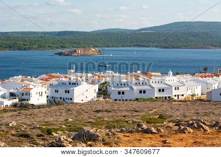 Whites Houses In Fornells Village In Menorca, Located On The North Coast Of The Island. Spain