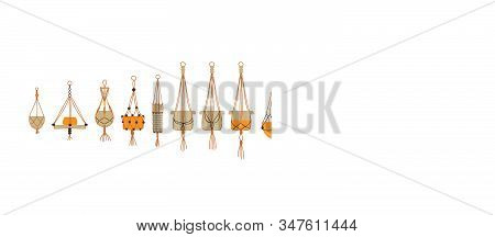 Set Of Hand Crafted Macrame Planter On Isolated White Background. Modern House Garden Handmade Colle