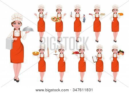 Beautiful Young Chef Woman, Set Of Eleven Poses. Pretty Cook Lady In Professional Apron And Hat. Sto