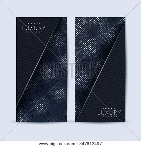 Set Of Two Abstract 3d Geometric Flyers With Black Paper Layers. Graphic Design Element. Silver Glit