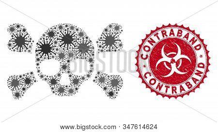 Coronavirus Mosaic Skull Crossbones Icon And Round Grunge Stamp Watermark With Contraband Caption. M