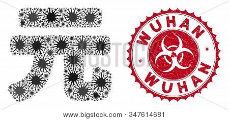 Coronavirus Mosaic Yuan Renminbi Icon And Rounded Grunge Stamp Seal With Wuhan Caption. Mosaic Vecto