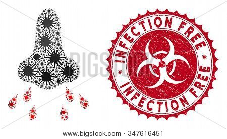 Coronavirus Mosaic Nose Infection Icon And Rounded Grunge Stamp Seal With Infection Free Phrase. Mos