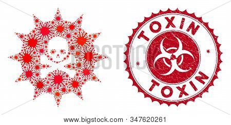 Coronavirus Mosaic Viral Toxin Icon And Round Corroded Stamp Seal With Toxin Caption. Mosaic Vector