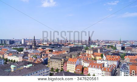 Copenhagen, Denmark - Jul 06th, 2015: Skyline Of Copenhagen From Vor Frelsers Kirke Church Of Our Sa