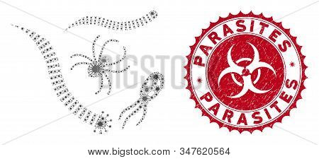 Coronavirus Collage Parasites Icon And Round Grunge Stamp Watermark With Parasites Phrase. Mosaic Ve