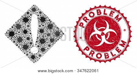 Coronavirus Mosaic Problem Icon And Round Grunge Stamp Seal With Problem Text. Mosaic Vector Is Crea