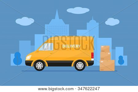 Delivery Truck With Cardboard Boxes Stands Against On The Background City. Vector Illustration Yello