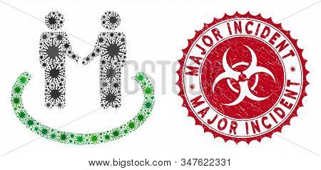 Coronavirus Mosaic Trustful Area Icon And Rounded Rubber Stamp Seal With Major Incident Caption. Mos