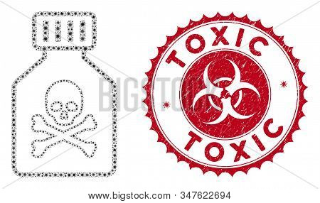 Coronavirus Mosaic Toxic Vial Icon And Round Corroded Stamp Seal With Toxic Text. Mosaic Vector Is D