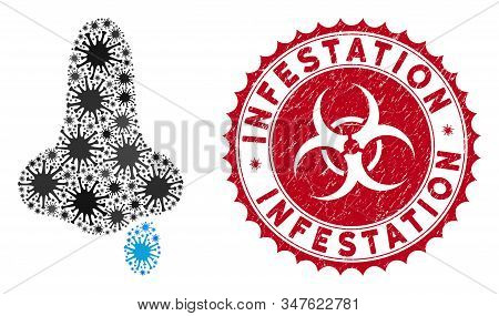 Coronavirus Mosaic Nose Flu Icon And Round Corroded Stamp Seal With Infestation Text. Mosaic Vector