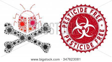 Coronavirus Mosaic Pesticide Icon And Round Distressed Stamp Seal With Pesticide Free Phrase. Mosaic