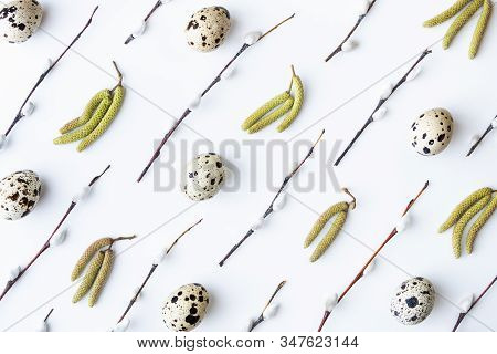 Flat Lay With Quail Eggs, Birch Catkins And Willow Twigs