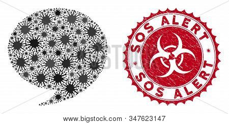 Coronavirus Mosaic Quote Icon And Round Grunge Stamp Seal With Sos Alert Text. Mosaic Vector Is Desi