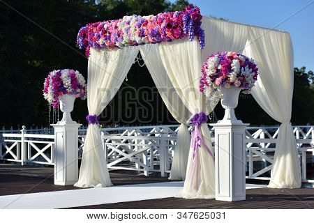 wedding decoration with flowers outdoors