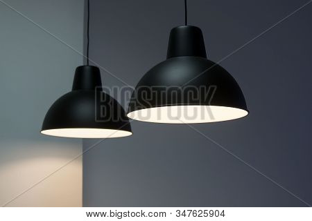 Black Decorative Lamp Hanging From The Ceiling.modern Lamp Isolated On White Background