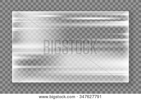 Plastic Wrap Texture. Realistic Stretched Plastic Film On Transparent Background. Polyethylene Wrap
