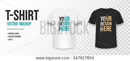 Black And White T-shirt Mockup. Mockup Of Realistic Shirt With Short Sleeves. Blank T-shirt Template