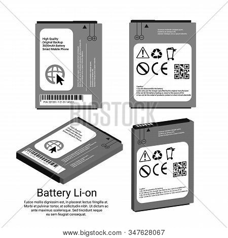 Cell Phone Battery Lithium-ion. Isometric Illustration. Battery Li-on Vector.