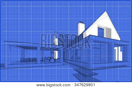 3D Rendering Of Modern Clinker House On The Ponds With Pool Black Line On Blueprint Background