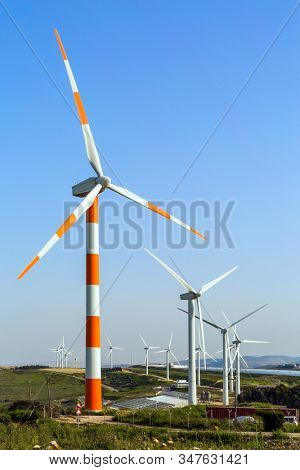 Modern equipment for generating electric energy. Wind generator - wind farm on Mount Gilboa. Israel. The concept of environmental friendliness, environmental protection.