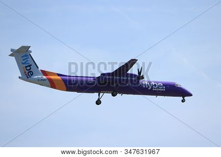 Amsterdam, The Netherlands - June, 1st 2019: G-prpf Flybe De Havilland Canada Dhc-8-400 Final Approa