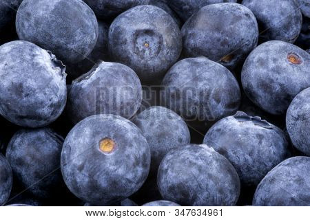 Close Up View Of A Pile Of Fresh Blueberries