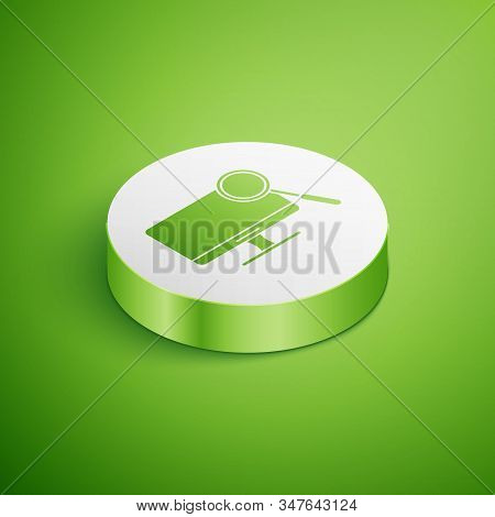 Isometric Computer Monitor Diagnostics Icon Isolated On Green Background. Adjusting App, Service, Se