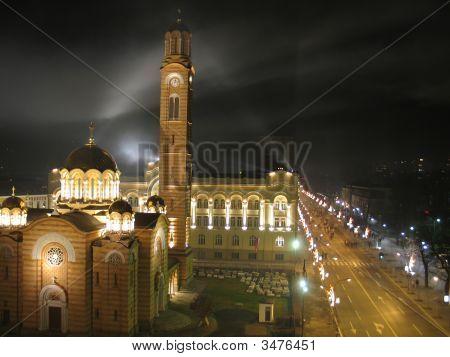 Church, Town Hall, Main City Street And Fireworks In Banja Luka