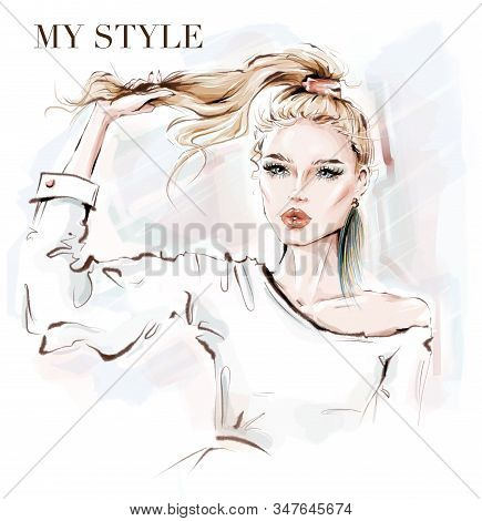 Hand Drawn Beautiful Young Woman Holding Her Pony Tail. Blonde Hair Girl. Sketch. Fashion Illustrati