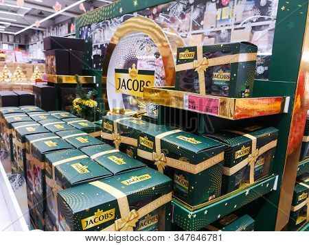 German Jacobs Coffee Popular In Europe On Shelf For Sale At Auchan Shopping Centre On December 25, 2