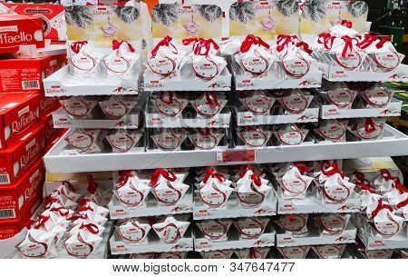 Raffaello Candy With Dried Coconut Chips At Auchan Shopping Center On December 25, 2019 In Russia, K
