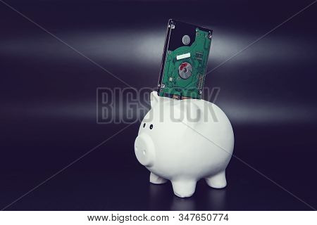 Hard Disk In Piggy Bank On Black Dark Background. Business, Backup March 31St And Technology Concept