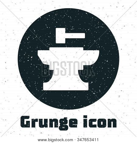 Grunge Anvil For Blacksmithing And Hammer Icon Isolated On White Background. Metal Forging. Forge To