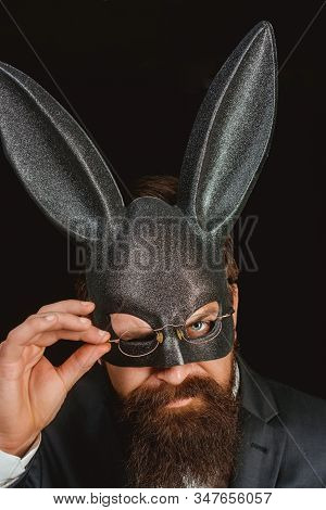 Funny Bearded Man In Carnival Rabbit Mask. Stylish Man. Handsome Man With Beard In Playboy Mask. Pla