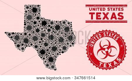 Coronavirus Mosaic Texas Map And Red Grunge Stamp Seals With Biohazard Sign. Texas Map Collage Forme
