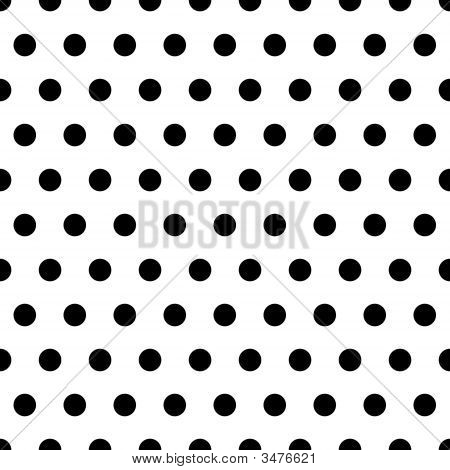 Black polka dot pattern on white background poster
