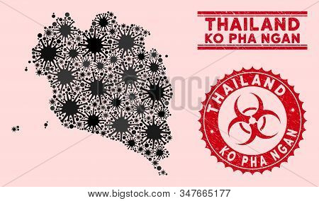 Coronavirus Collage Ko Pha Ngan Map And Red Corroded Stamp Seals With Biohazard Sign. Ko Pha Ngan Ma