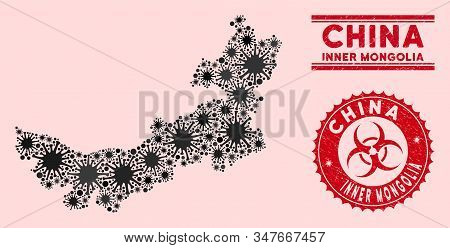 Coronavirus Collage Chinese Inner Mongolia Map And Red Distressed Stamp Seals With Biohazard Sign. C