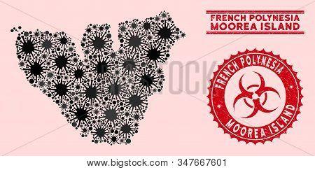 Coronavirus Collage Moorea Island Map And Red Grunge Stamp Watermarks With Biohazard Symbol. Moorea