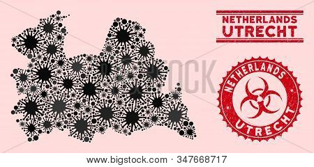 Coronavirus Mosaic Utrecht Province Map And Red Corroded Stamp Watermarks With Biohazard Sign. Utrec